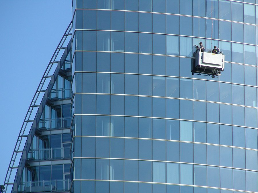 commercial windows being cleaned